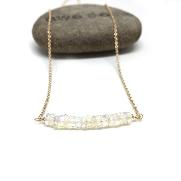 14K GOLD ETHIOPIAN OPAL NECKLACE - INNER BEAUTY TALISMAN