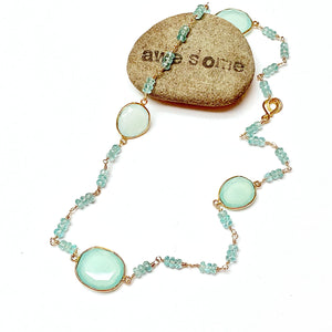GOLD FILLED/PLATED TEAL CHALCEDONY NECKLACE - GOOD WILL TALISMAN