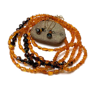 GOLD VERMEIL AMBER CZECH GLASS NECKLACE EARRINGS - ENLIVEN TALISMAN