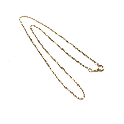 GOLD FILLED BEADED CHAIN 1.2MM. 16 INCHES.