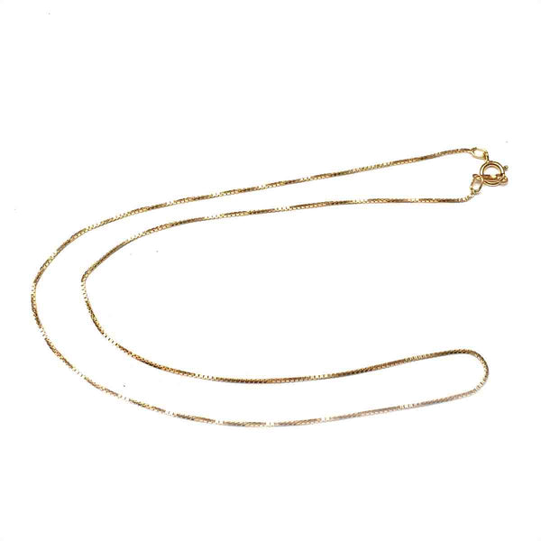 GOLD FILLED BOX CHAIN NECKLACE .85MM 16 INCHES