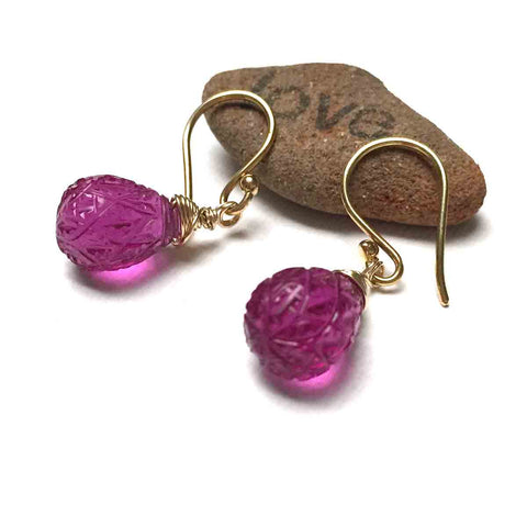 GOLD FILLED HOT PINK CARVED QUARTZ TEARDROP EARRINGS - SYNCH ME TALISMAN