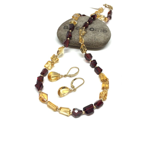 GOLD FILLED GARNET CITRINE NECKLACE/EARRINGS - REVITALIZED CREATIVITY TALISMAN