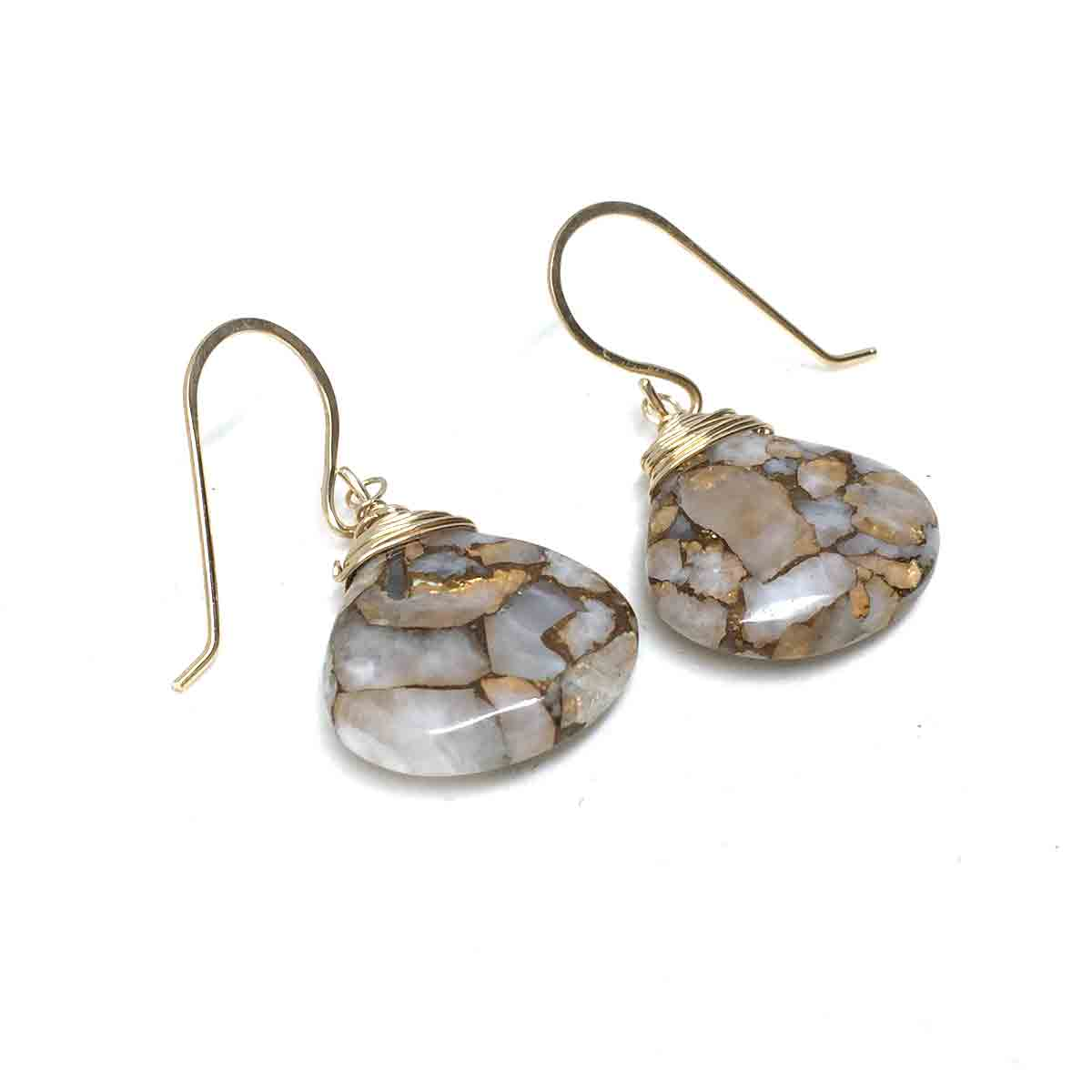 GOLD FILLED COPPER CALCITE EARRINGS - I LEARN TALISMAN