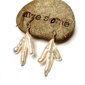 GOLD FILLED WHITE BIWA PEARL BRANCH EARRINGS - PURE HEART TALISMAN