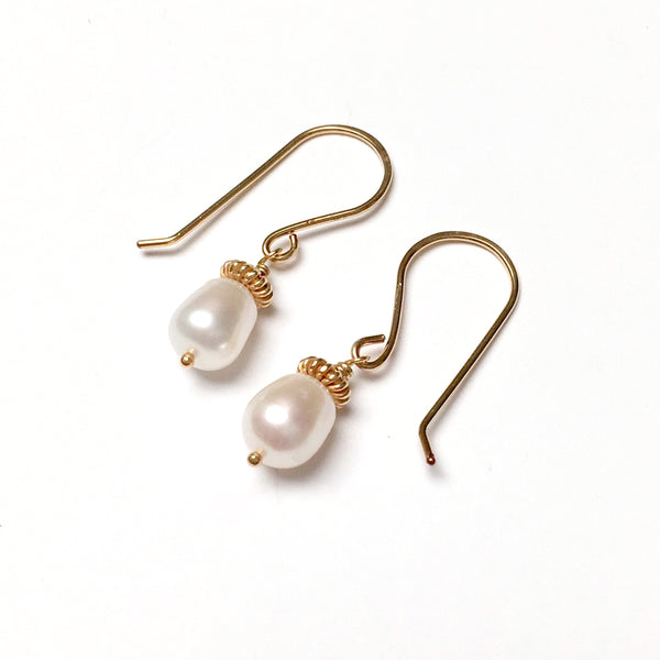 GOLD FILLED FRESHWATER PEARL DROP EARRINGS - PURE HEART TALISMAN