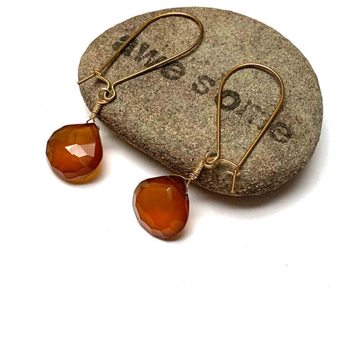 GOLD FILLED HONEY CHALCEDONY EARRINGS - GOOD WILL TALISMAN