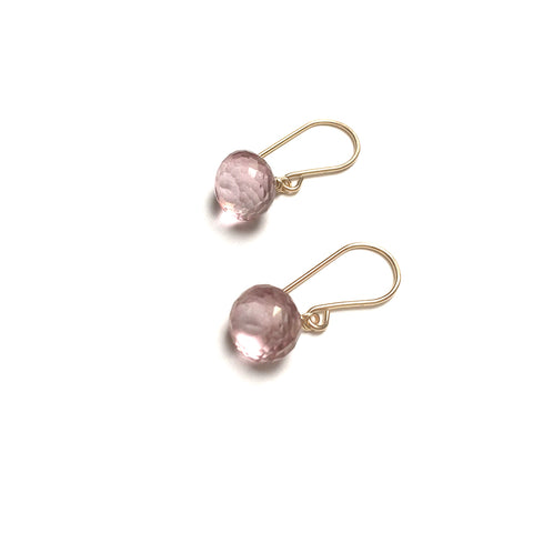 GOLD FILLED MYSTIC PINK ONION BRIOLETTE EARRINGS - SYNCH ME TALISMAN