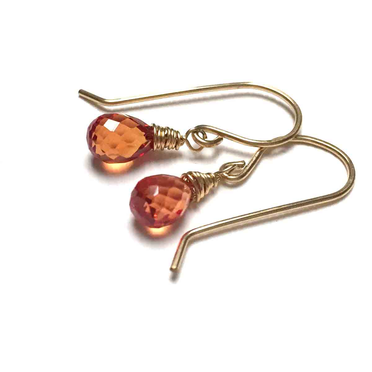 GOLD FILLED PADPARADSCHA CORUNDUM QUARTZ TEARDROP EARRINGS - SYNCH ME TALISMAN