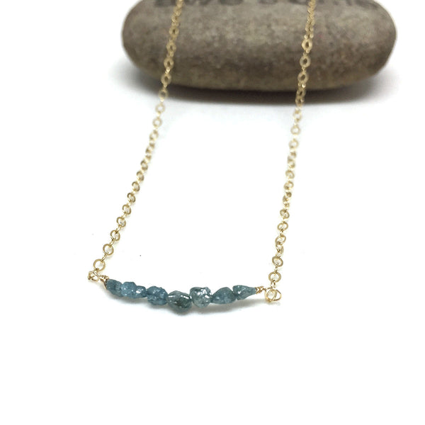 GOLD FILLED RAW DIAMOND NECKLACE - RICHNESS OF THE SELF TALISMAN