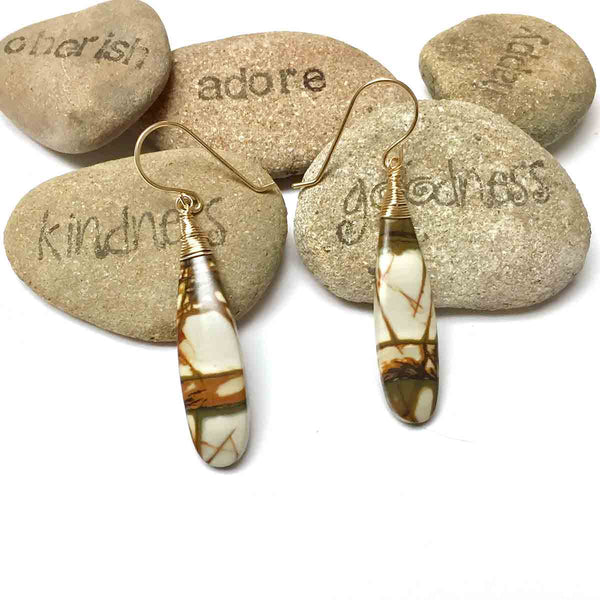 GOLD FILLED CHERRY CREEK JASPER EARRINGS (SAND) - MOTHER EARTH TALISMAN