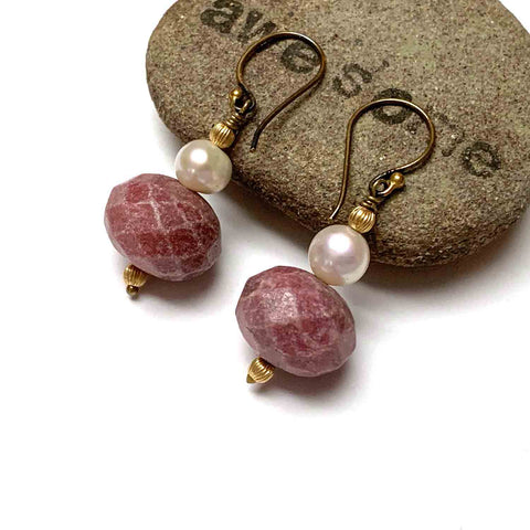 GOLD FILLED RHODONITE EARRINGS - I NURTURE MY INNER SELF TALISMAN