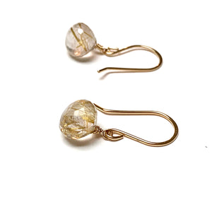 GOLD FILLED RUTILATED QUARTZ EARRINGS - CLARITY TALISMAN