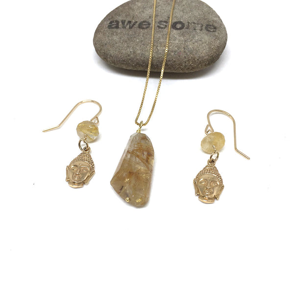GOLD FILLED RUTILATED QUARTZ NECKLACE EARRINGS - CLARITY TALISMAN