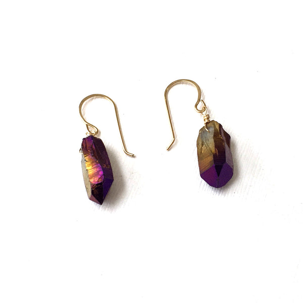 GOLD FILLED TITANIUM QUARTZ POINT EARRINGS - SYNCH ME TALISMAN