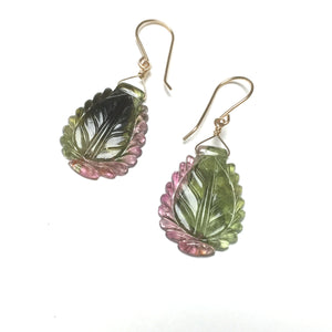 GOLD FILLED TOURMALINE CARVED LEAF EARRINGS - INSPIRATION TALISMAN