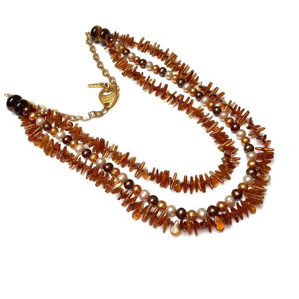 GOLD VERMEIL MULTI-STRAND CITRINE SHELL FRESHWATER PEARL NECKLACE - CREATIVITY TALISMAN