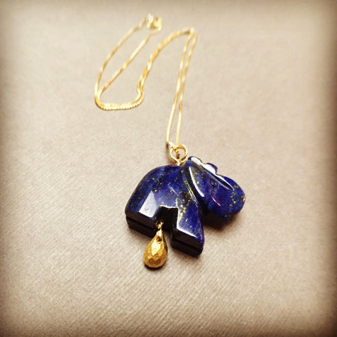 GOLD FILLED HANDMADE LAPIS LAZULI ELEPHANT NECKLACE - SERENITY TALISMAN