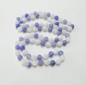 HAND SILK KNOTTED FROSTED AGATE ROCK CRYSTAL BLUE WHITE NECKLACE- PROTECTIVE EMBRACE TALISMAN