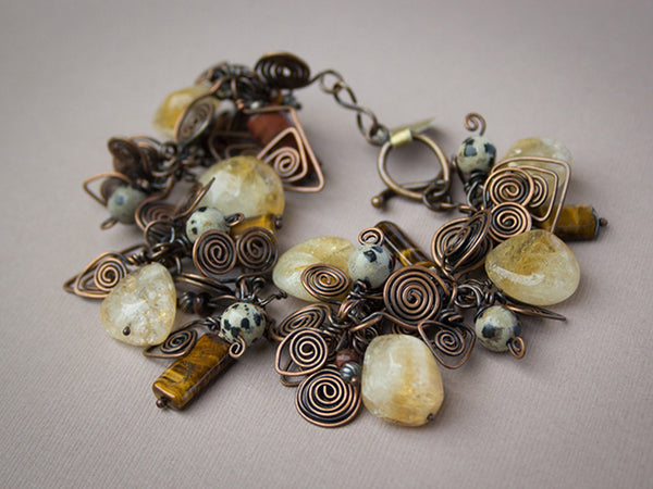 COPPER CITRINE STACKED BRACELET - PROSPERITY TALISMAN