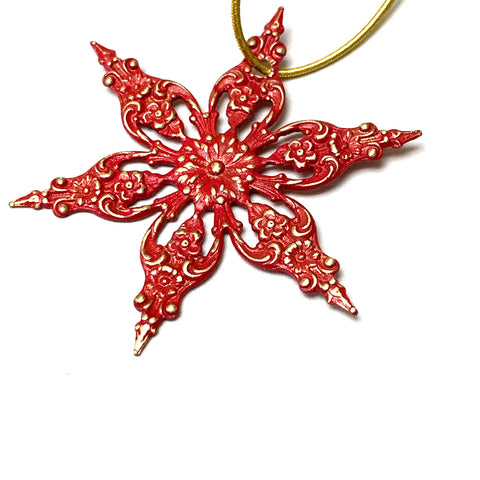 HOLIDAY ORNAMENT. RED STARBURST. CHRISTMAS. VALENTINE. 2 INCHES.