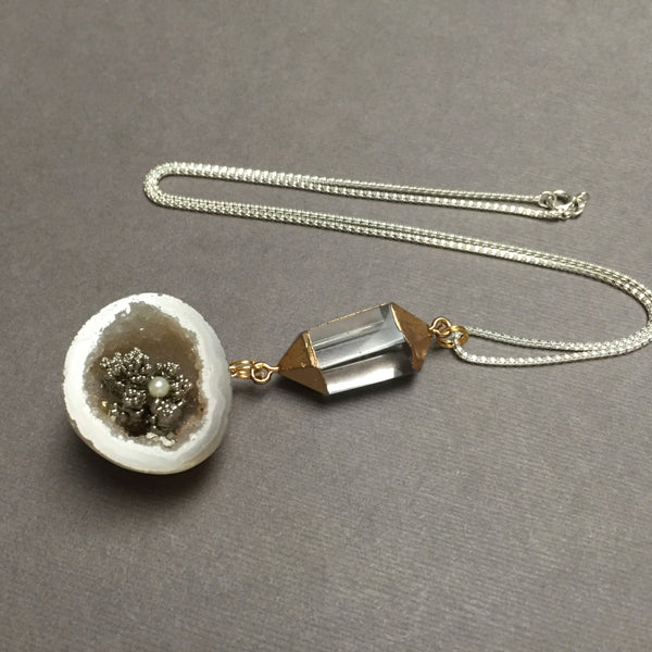 STERLING SILVER MINI THUNDER EGG GEODE WITH PEARL NECKLACE - SEED OF LOVE TALISMAN