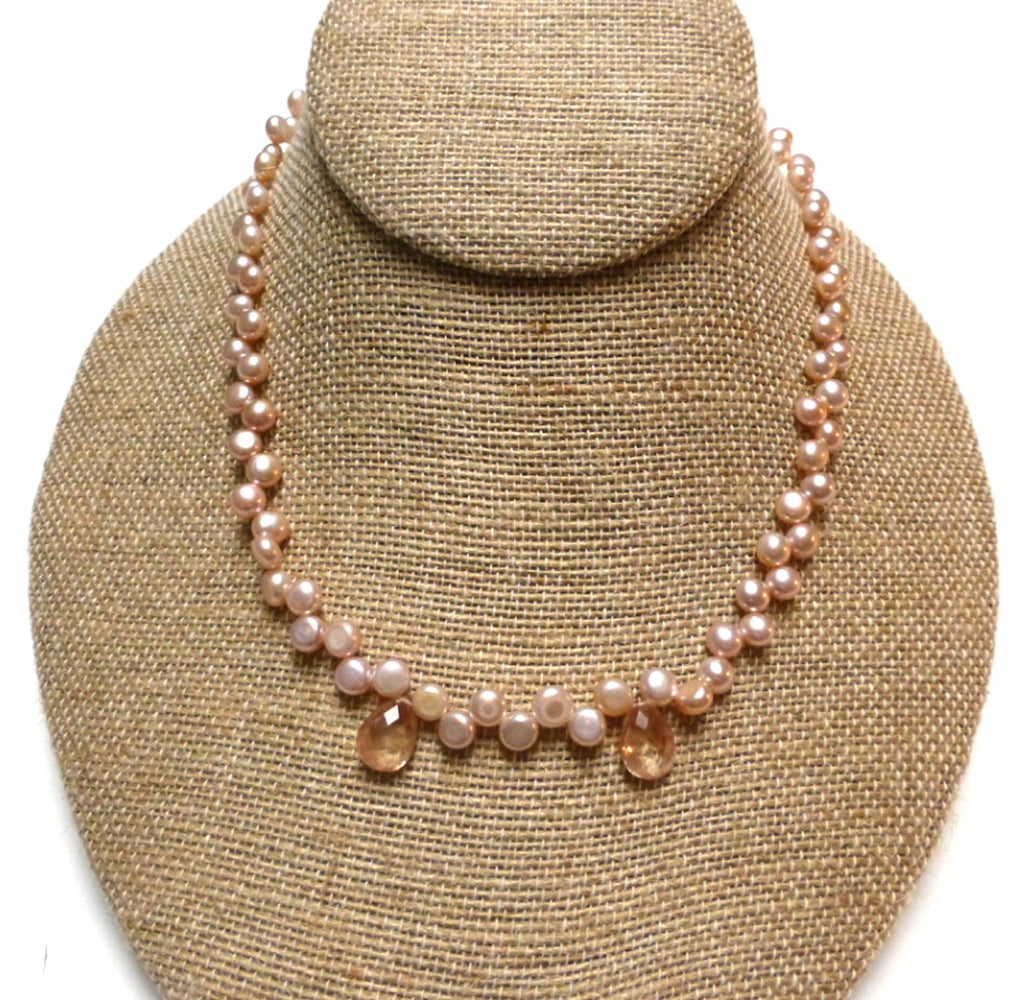 STERLING SILVER PINK FRESHWATER PEARL SUNSTONE NECKLACE - PURE HEART TALISMAN
