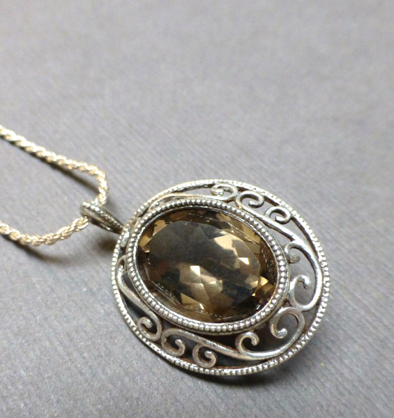 STERLING SILVER SMOKEY QUARTZ FILIGREE NECKLACE - GOOD LUCK TALISMAN