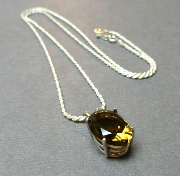 STERLING SILVER SMOKEY QUARTZ NECKLACE - GOOD LUCK TALISMAN