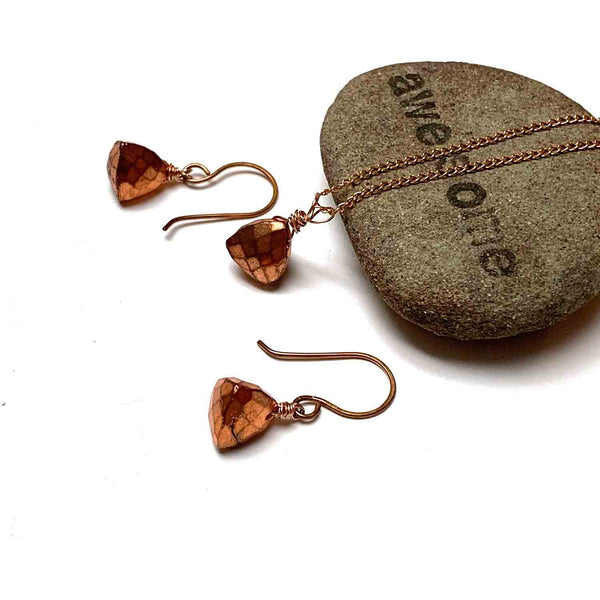 ROSE GOLD FILLED COPPER TITANIUM PYRITE TRILLION CUT NECKLACE EARRINGS - STAY FOCUSSED TALISMAN