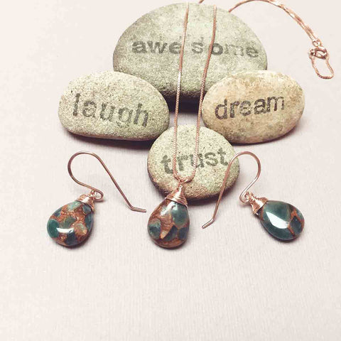 ROSE GOLD FILLED GOLDEN AURA QUARTZ NECKLACE EARRINGS - SYNCH ME TALISMAN