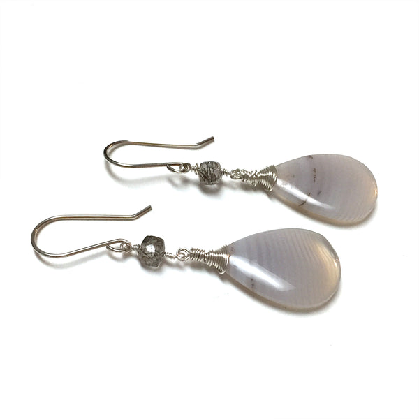 STERLING SILVER BANDED AGATE EARRINGS - PROTECTIVE EMBRACE TALISMAN