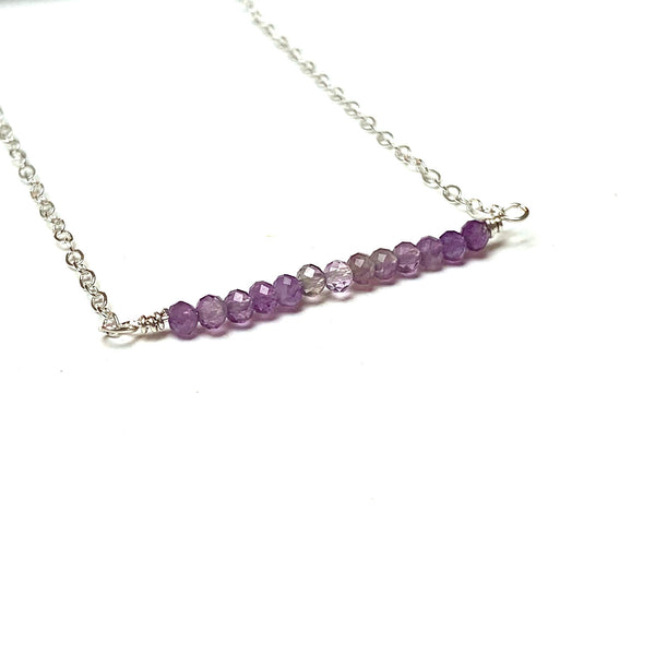 GEMSTONE BAR NECKLACE - GEMSTONE TALISMAN NECKLACES