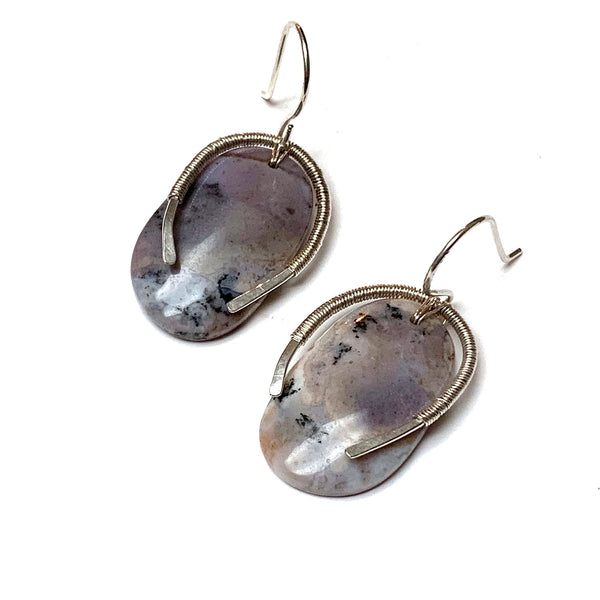 STERLING SILVER AMETHYST SAGE EARRINGS - LOVE THYSELF TALISMAN
