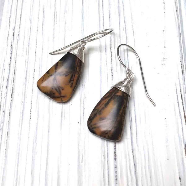 STERLING SILVER BLACK FEATHER AGATE EARRINGS - ABUNDANCE TALISMAN