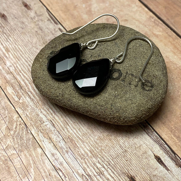 STERLING SILVER BLACK ONYX EARRINGS - STAMINA TALISMAN