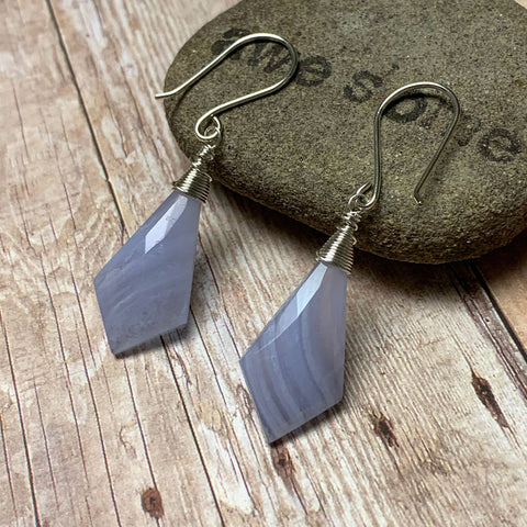 STERLING SILVER BLUE LACE AGATE EARRINGS - PROTECTIVE EMBRACE TALISMAN