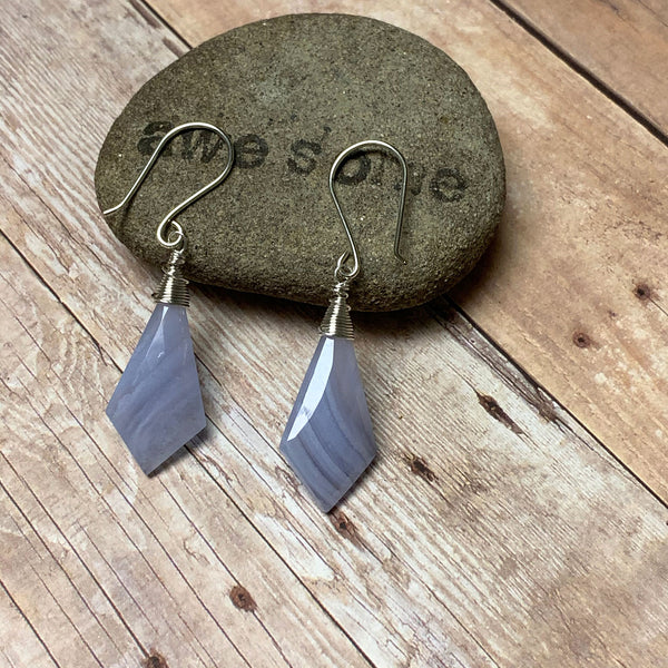 RESERVED - STERLING SILVER BLUE LACE AGATE EARRINGS - PROTECTIVE EMBRACE TALISMAN
