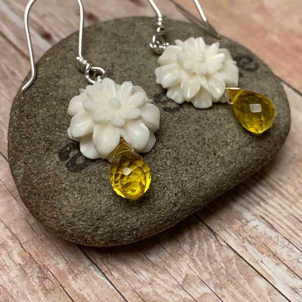 STERLING SILVER BONE CORUNDUM FLOWER EARRINGS - WISE DECISIONS TALISMAN