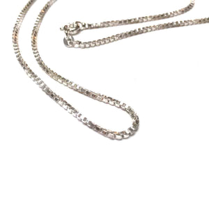 STERLING SILVER BOX CHAIN NECKLACE 1MM 16 INCHES, 18 INCHES, 20 INCHES