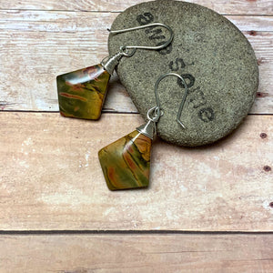 STERLING SILVER CHERRY CREEK JASPER KITE EARRINGS - MOTHER EARTH TALISMAN