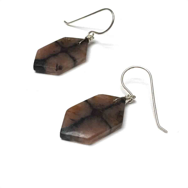 STERLING SILVER CHIASTOLITE EARRINGS - DEVOTION TALISMAN