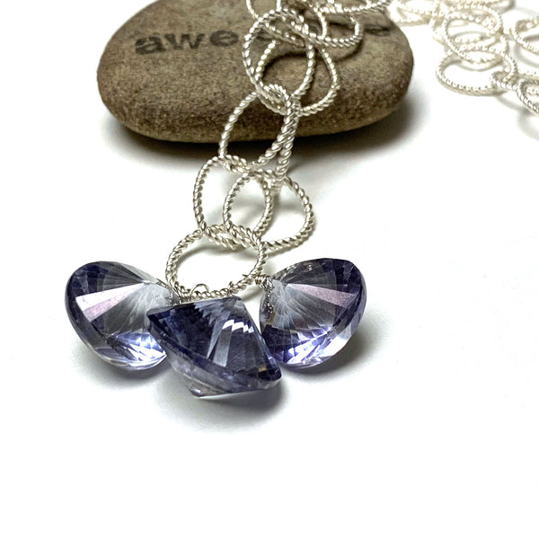 STERLING SILVER CORNFLOWER BLUE QUARTZ NECKLACE EARRINGS - SYNCH ME TALISMAN