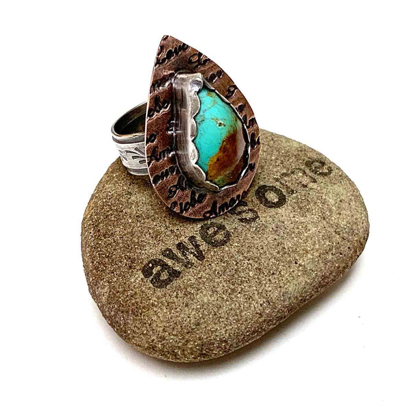STERLING SILVER COPPER TURQUOISE AMORE BEZEL RING - I HEAL WITH LOVE TALISMAN