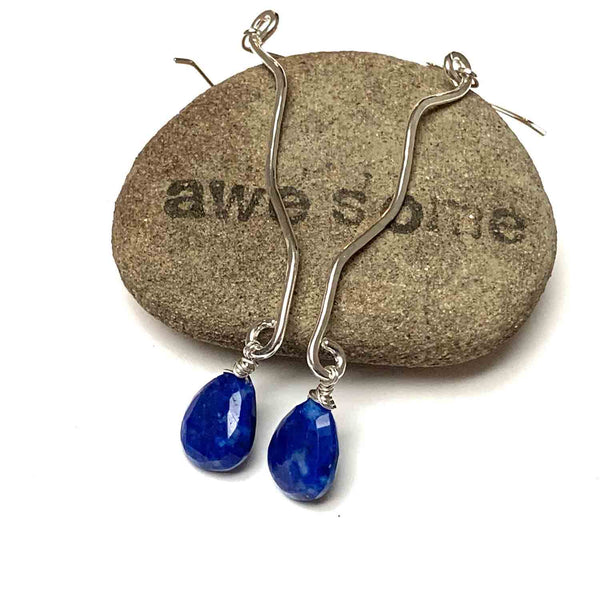 LONG DROP WAVE GEMSTONE EARRINGS