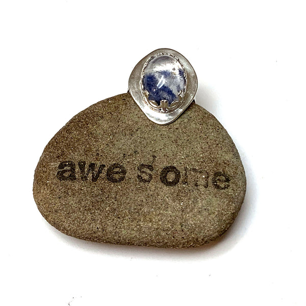 STERLING SILVER DUMORTIERITE IN QUARTZ BEZEL RING - STAND UP TALISMAN