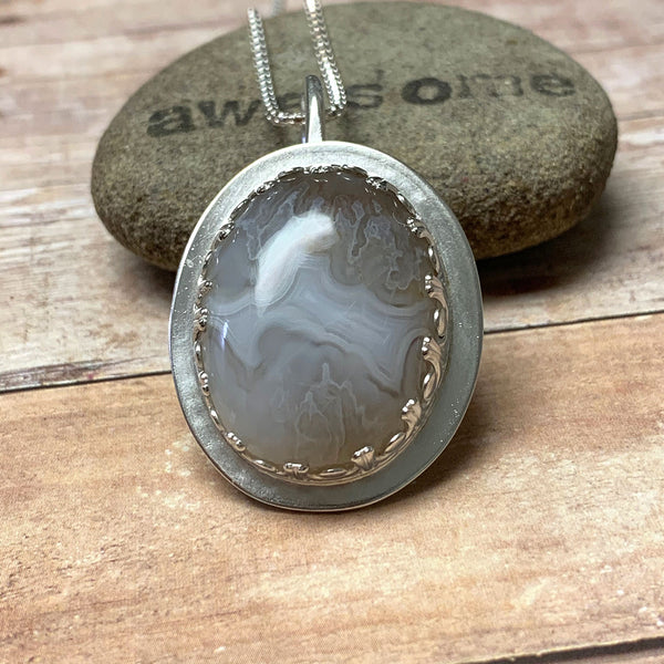 STERLING SILVER GHOST AGATE BEZEL SET NECKLACE - PROTECTIVE EMBRACE TALISMAN