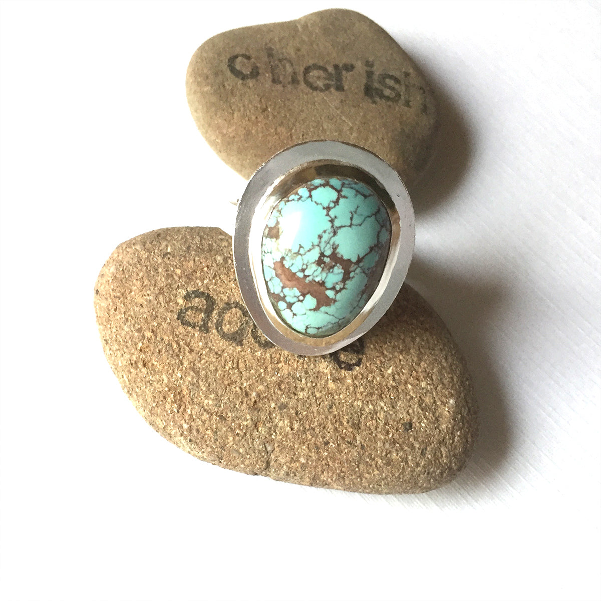 STERLING SILVER TURQUOISE HAMMERED BEZEL RING - I HEAL WITH LOVE TALISMAN