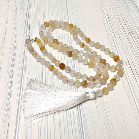 STERLING SILVER HAND SILK KNOTTED CITRINE NECKLACE - I BOW TALISMAN