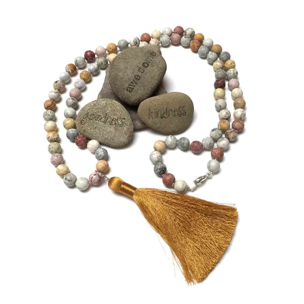 STERLING SILVER HAND SILK KNOTTED CRAZY LACE AGATE NECKLACE - CRAZY WISDOM TALISMAN